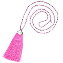 KELITCH Womens Tassel Necklaces Handmade Silver Beaded Chain Necklace Fashion Necklaces