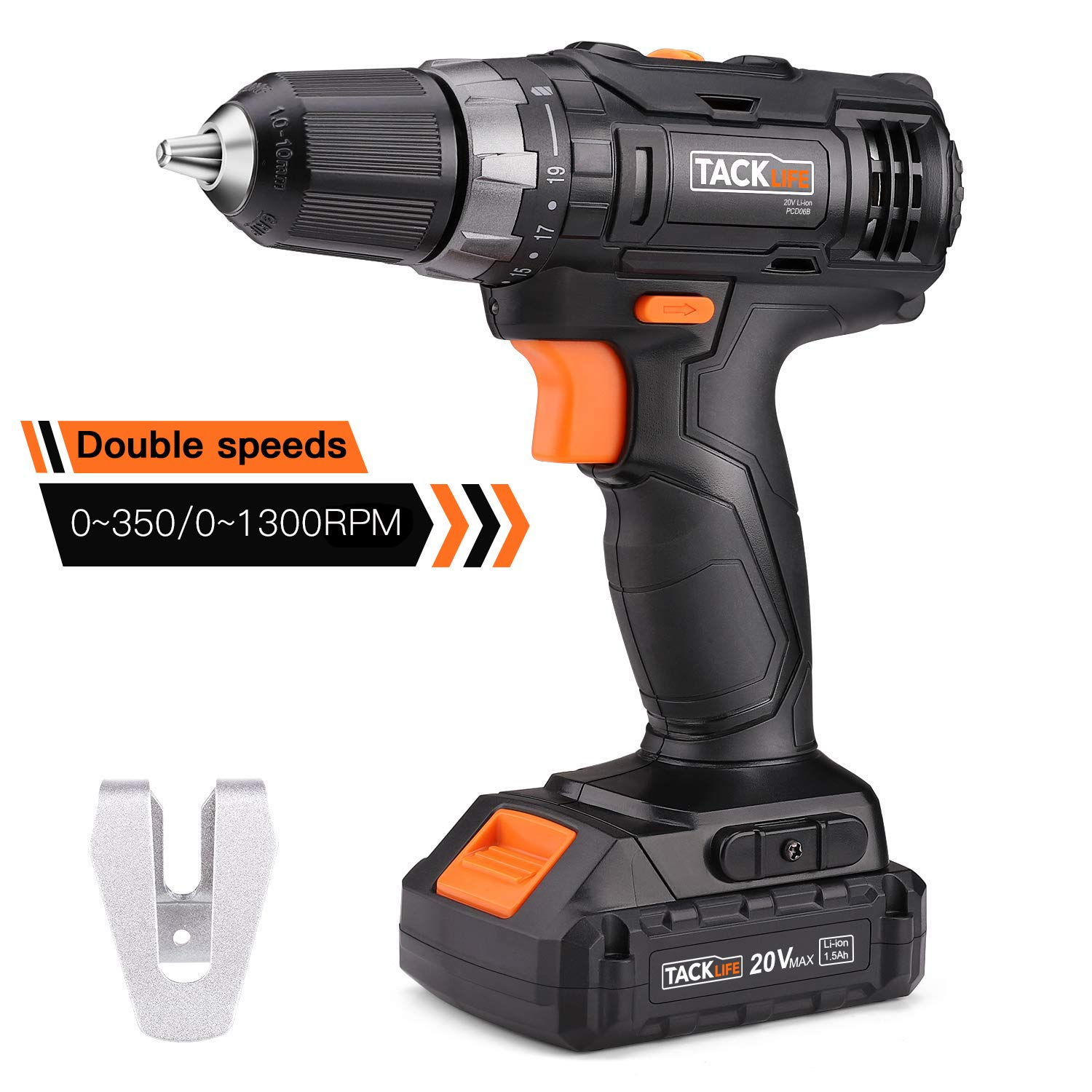"""TACKLIFE PCD06B 20V MAX Lithium-Ion 3/8"""" Cordless Drill Driver, 2-Speed Max Torque 265 in-lbs 19+1 Position with LED, Compact Battery Cell and Charger Included"""