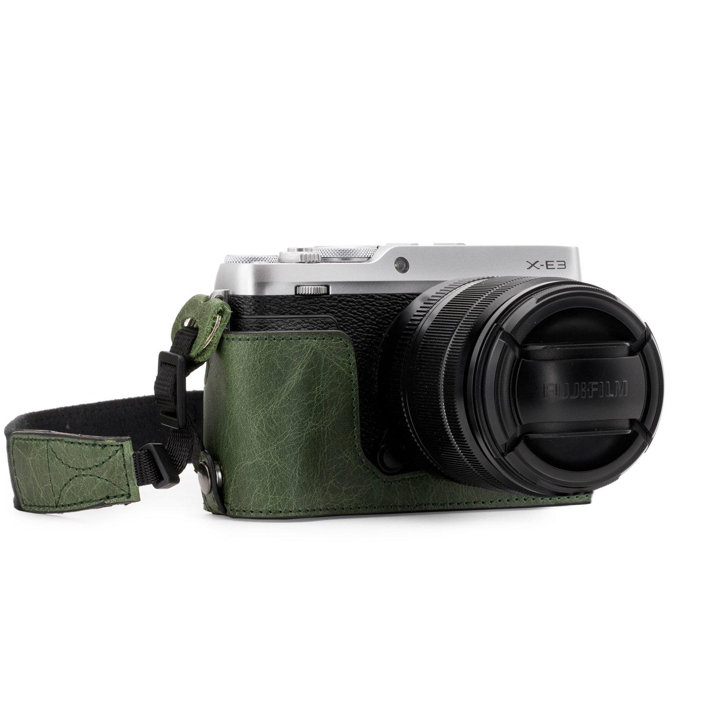 MegaGear MG1344 Ever Ready Genuine Leather Camera Half Case & Strap Fujifilm X-E3 with Battery Access, Green