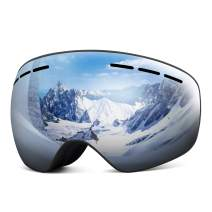 Rhino Valley Frameless OTG Ski Goggles, Snowboard Goggles Anti-Fog 100% UV Protection,Dual Lens Snow Eyewear Helmet Compatible for Skiing Skating & Winter Snow Outdoor Sports for Men Women Youth