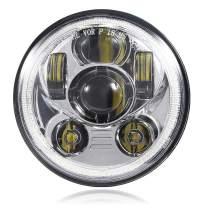 BICYACO 5-3/4 5.75 Inch LED Headlight with Halo DRL for Harley Davidson Dyna Street Bob Super Wide Glide Low Rider Night Rod Train Softail Deuce Custom Sportster Iron 883-Chrome