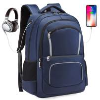 Pinprin Travel Laptop Backpack with USB Charging Port, Water-Repellent College School Computer Backpack Fits up to 17 Inch Laptop, Anti Theft Casual Daypack for Business/Hiking/Men/Women (Blue)