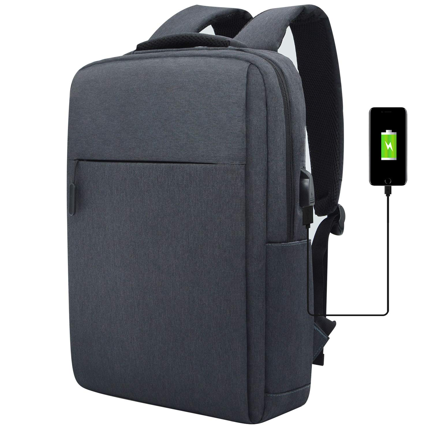 Slim Laptop Backpack Lightweight Business Backpack College School Bookbag Fits 15 15.6 Inches Laptop Water Resistant Computer Bag with UBS Charging Port and 1 Universal Keyboard Cover, Gray