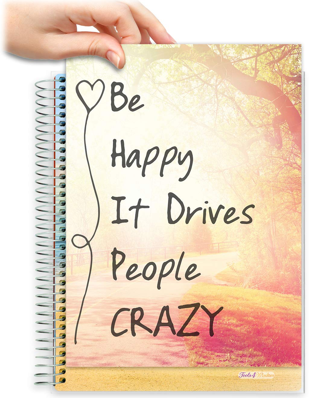 Tools4Wisdom Customizable Daily Planner 2021-2022 - April 2021 to June 2022 Calendar - Full Color -with Tools4Wisdom Customizable Scrapbook Planner Cover - Q2SC - 8.5x11 Softcover - Be Happy
