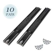 10 Pairs 16 Inch 3-fold Smooth Telescopic Slide Full Extension Ball Bearing Drawer Slides Side Mount (16 Inch)