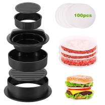 Nuovoware 3 in 1 Burger Press, Hamburger Press Patty Stuffed Burger Maker with 100ps Burger Paper for BBQ Non Stick Sliders Beef Burger Press - Black