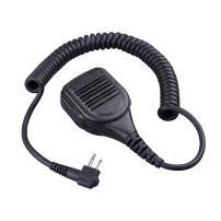 COMMIXC Walkie Talkie Handheld Speaker with PPT Mic, Waterproof IP55 Shoulder Microphone with External 3.5mm Earpiece Jack, Compatible with 2.5mm/3.5mm 2-Pin Motorola Two-Way Radios