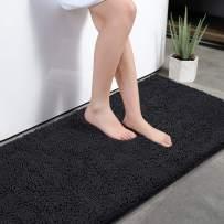 "KMAT Bath Mat Rug Nonslip Plush Chenille Bathroom mat Quick Absorbent 28"" x 47"" Black Large Bath Rug for Bathroom Floor Tub Shower Bedroom Living Room,Machine Washable"