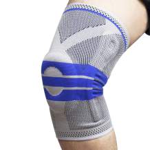 Pexmmy Knee Brace, Knee Compression Sleeve Support, Knee Protector With Side Stabilizers & Patella Gel Pads for Men Women (light Blue, L)