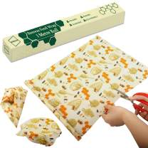 RUIMAICAN Beeswax Food Wrap - Roll (13 x 39''), Reusable Beeswax Wraps, Organic Cotton, Sustainable, Zero Waste, Plastic Free Alternative For Food Storage