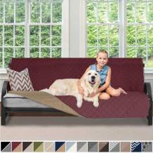 Sofa Shield Original Patent Pending Reversible Futon Protector for Seat Width up to 70 Inch, Furniture Slipcover, 2 Inch Strap, Daybed Couch Slip Cover Throw for Pets, Kids, Cats, Futon, Burgundy Tan