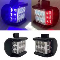 LED Side Shooter Light Bars DIBMS 2x White LED Spot Pods Light with Blue Red Strobe Warning Flashing Emergency Light Off Road Driving Light Compatible with Jeep Car Trucks SUV ATV 4X4