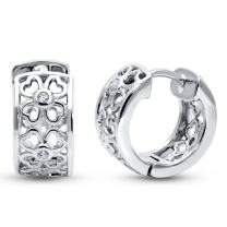 """BERRICLE Rhodium Plated Sterling Silver Cubic Zirconia CZ Clover Small Fashion Hoop Huggie Earrings 0.55"""" - Holiday Gift"""