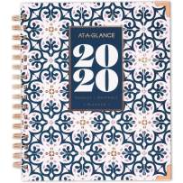 """AT-A-GLANCE 2020 Weekly & Monthly Planner, 8-3/4"""" x 7"""", Medium, Hardcover, Badge Floral Geo (6282G-805)"""