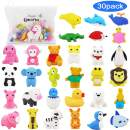 Pencil Erasers Zoo Animal Erasers -30 Pack Puzzle Erasers with Unicorn Pencil Bag Easter Party Favors for Kids, Games Prizes, Carnivals and School Supplies Easter Gifts for Girls
