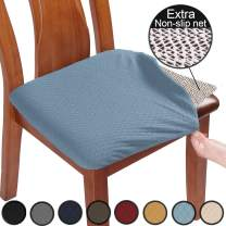 BUYUE Chair Covers for Dining Room Washable Jacquard Stretch Slipcover Kitchen Seat Cushions Protector for Upholstered Chair - Set of 2, Sky Blue