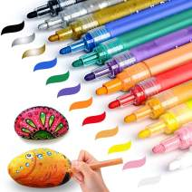 Acrylic Paint Pens for Rock Painting Wood Glass Metal Ceramic Easter Egg Christmas Ball Craft Supplies Set of 12 SAKEYR Water Based Paint Marker Pens Medium Tip