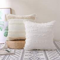 KKY Boho Tufted Neutral Decorative Throw Pillow Covers, Pure Cotton Hand-Woven Farmhouse with Tassel Throw Pillow Covers, Used in Sofa, Living Room and Bedroom.(White 2pc, Square 18x18 inch)