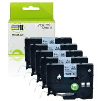 "NineLeaf 5 Pack Black on White Labeling Tape Compatible for Brother TZe211 TZ-211 TZ211 Laminated Label Tape Cartridge for P-Touch Label Makers & Printers 1/4""x 26.2""(6mm x 8m)"