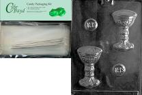 Cybrtrayd Host/Chalice Chocolate Candy Mold with Chocolate Packaging Bundle, Includes 25 Cello Bags, 25 Silver Twist Ties and Exclusive Cybrtrayd Copyrighted Chocolate Molding Instructions