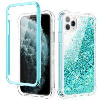 Caka iPhone 11 Pro Case, iPhone 11 Pro Glitter Full Body Protection Case with Screen Protector Moving Shining Sparkly Liquid Quicksand Girls Girly Women Shockproof Rugged Case for iPhone 11 Pro (Teal)