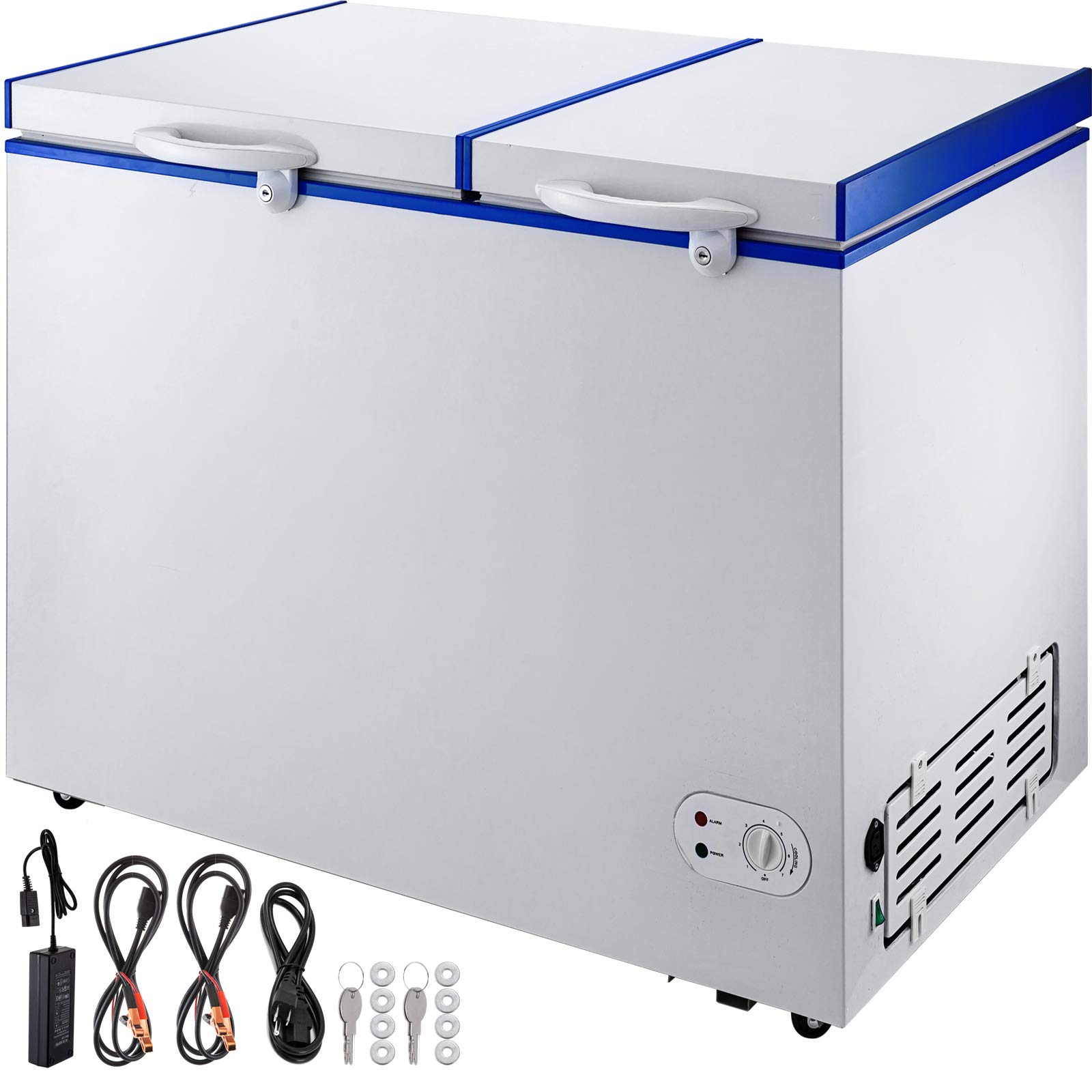 VBENLEM Chest Freezer,182 Quart Commercial RV Deep Freezer,6.1 cu.ft. Compact Vehicle Electric Cooler Fridge,12V/24V DC With Lock for Car Home Camping Truck Party,-0.4℉-32℉ Suit for Solar Power