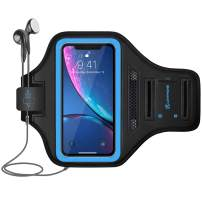 LOVPHONE iPhone 11 Pro/iPhone X/iPhone Xs/Galaxy S10e Armband, Sport Running Exercise Gym Case with Key Holder & Card Slot,Fingerprint Sensor Access Supported and Sweat-Proof (Blue)
