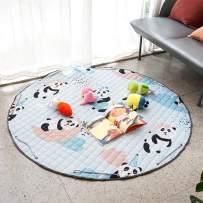 YOULERBU Waterproof Baby Kids Play Mat, Large Gym Play Mat Toy Storage, Foldable & Washable Toddlers Crawling Mat, Soft Toys Storage Organizer Children Play Rugs(Panda)