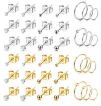 Jstyle 18 Pairs Stainless Steel Tiny Stud Earrings For Womens Hoops Earrings Set Tragus Cartilage Piercing Jewlry