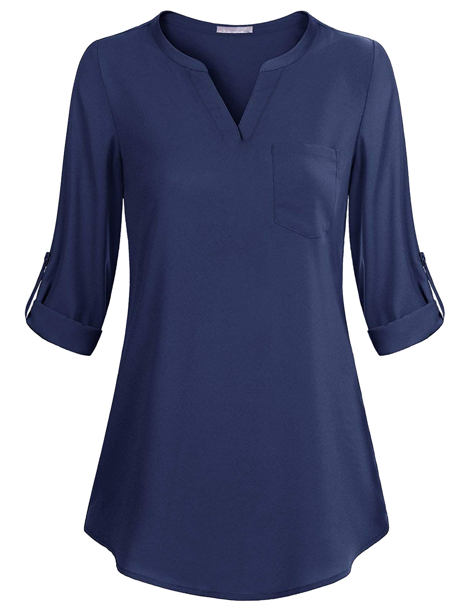 Mofavor Women's Chiffon V Neck Blouse Cuffed 3/4 Sleeve Tunic Tops