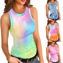 Womens Tanks Tops, Workout Yoga Tank Tops, Exercise Clothes Gym Shirts Halter Tie Dye/Leopard Vest