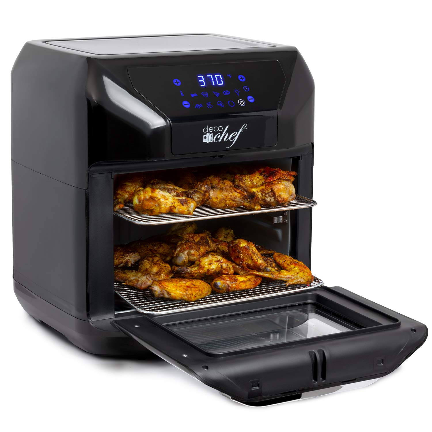 Deco Chef 7-in-1 Digital 10.5 QT Air Fryer Convection Oven Oil-Free Multi-Function X-Large Capacity with Simple Touch Display - Black