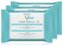 Vichy Purete Thermale 3-in-1 Makeup Remover Wipes with Micellar Cleanser Water & Vitamin E, 25 Count
