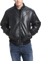 BGSD Men's Black Lambskin Leather Bomber Jacket (Regular and Big & Tall Sizes)