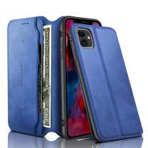 REALIKE iPhone 11 Case, iPhone 11 Wallet Case Leather Folio Flip Case with Kickstand for iPhone 11 Slim Fit with Magnetic Closure Shockproof Protection for Men and Women - Blue