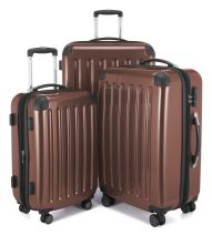 HAUPTSTADTKOFFER Luggage Sets Alex UP Hard Shell Luggage with Spinner Wheels 3 Piece Suitcase TSA (Brown)