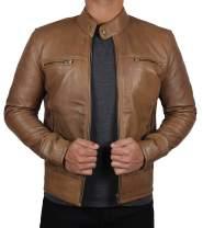 Decrum Leather Motorcycle Jacket Men - Black and Brown Biker Lambskin Moto Jacket