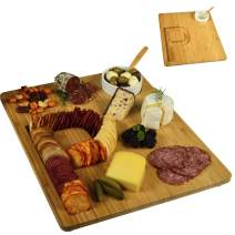 Picnic at Ascot Alphabet Bamboo Cheese/Charcuterie Board with a Groove milled in the shape of a Letter for Crackers - Includes Ceramic Dip/Olive Bowl with bamboo spoon - Patent Pending