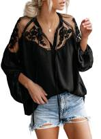 Asvivid Womens Casual V Neck Balloon Long Sleeve Tops Hollow Out Tie Knot Loose Shirt and Blouses