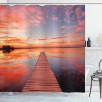 """Ambesonne Lake House Shower Curtain, Long View of The Timber Deck Pier Over Lake with Idyllic Sky at The Dawn, Cloth Fabric Bathroom Decor Set with Hooks, 75"""" Long, Orange Lavander"""