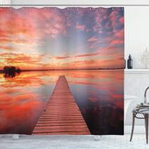 "Ambesonne Lake House Shower Curtain, Long View of The Timber Deck Pier Over Lake with Idyllic Sky at The Dawn, Cloth Fabric Bathroom Decor Set with Hooks, 75"" Long, Orange Lavander"