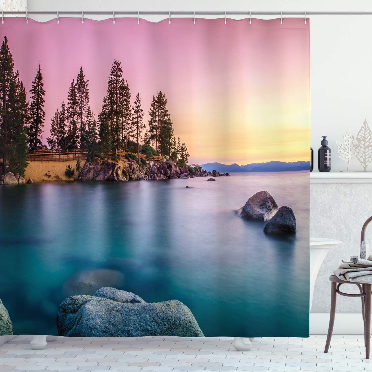 """Ambesonne Lake Shower Curtain, Trees on The Alley and Stones in The Lake Motivational Nature Inspired Tranquil Serene, Cloth Fabric Bathroom Decor Set with Hooks, 84"""" Long Extra, Pink Blue"""