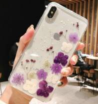 iPhone Xs Max Case with Flowers, JANDM Handmade Pressed Dried Real Flowers Soft Silicone Girls' Crystal Glitters Case for iPhone Xs Max-Purple