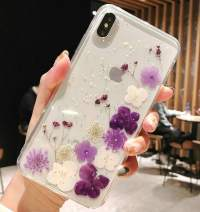 iPhone XR Case with Flowers, JANDM Handmade Pressed Dried Real Flowers Soft Silicone Girls' Crystal Glitters Case for iPhone XR-Purple
