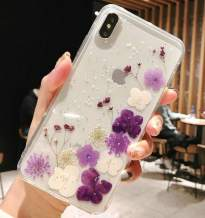 iPhone 11 Case with Flowers, JANDM Handmade Pressed Dried Real Flowers Soft Silicone Girls' Crystal Glitters Case for iPhone 11-Purple