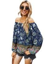 AMZKIKI Off The Shoulder Tops for Women Ruffle Cute Bell Long Sleeve Casual Summer Outdoor Shirt