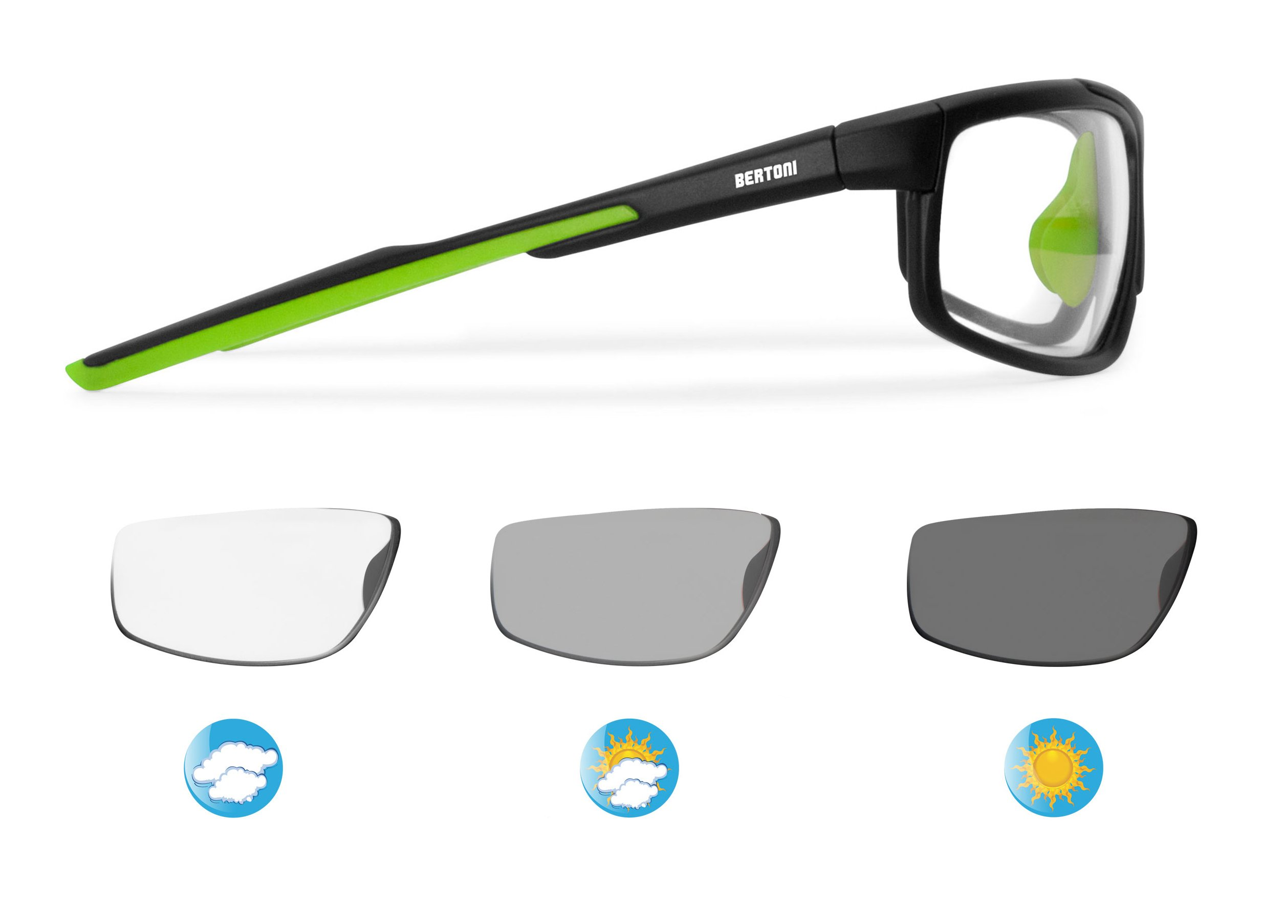 Bertoni Sports Polarized Sunglasses Photochromic Cycling Ski Running Golf w Antifog Lens w Adjustable Nose - mod. F180 Sunsensor Glasses w Tr90 Durable Frame