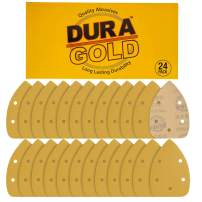 Dura-Gold - Premium Hook & Loop - 120 Grit 5-Hole Hook & Loop Sanding Sheets for Mouse Sanders - Box of 24 Sandpaper Finishing Sheets for Automotive and Woodworking