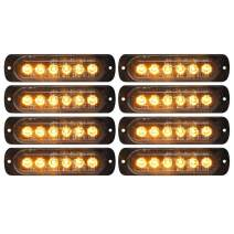 DIBMS LED Strobe Warning Lights, 8x Amber Yellow LED Strobe Warning Emergency Flashing Light Caution Construction Hazard Light Bar For Car Truck Van Off Road Vehicle ATV SUV Surface Mount