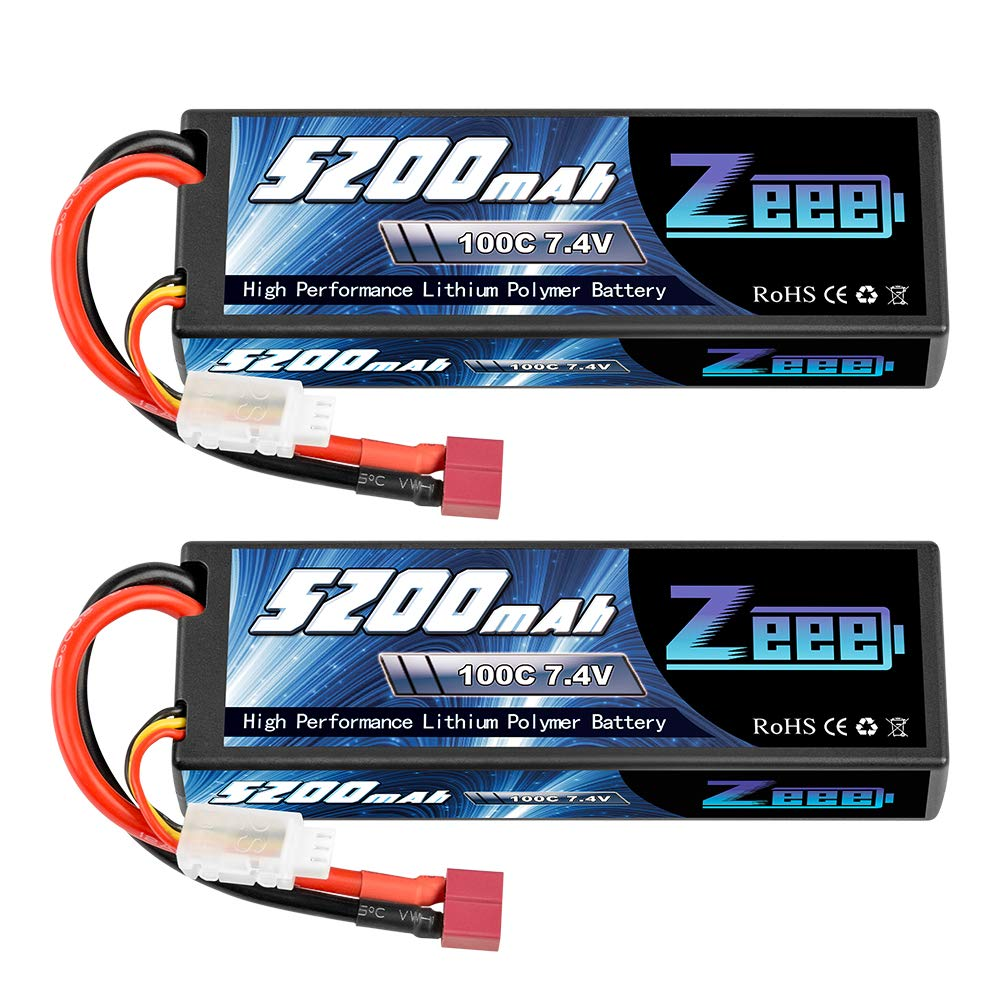Zeee 7.4V 100C 5200mAh 2S Lipo Battery with Deans T Connector for RC Car Truck Vehicle Buggy Losi Traxxas Slash(2 Pack)